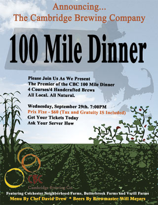 Cambridge Brewing - 100 Mile Beer Dinner