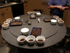 Cupping process to evaluate the beans