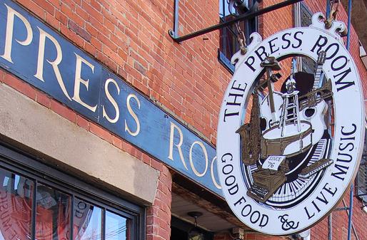 the Press Room Restaurant Sign